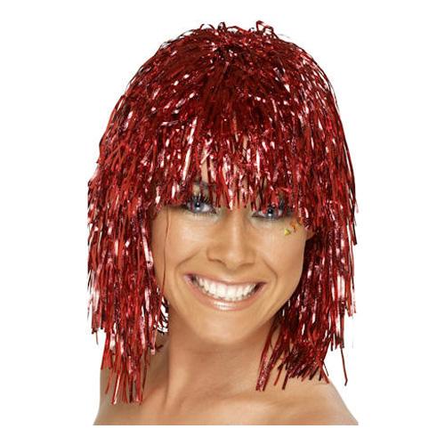 Glitterperuk - Röd