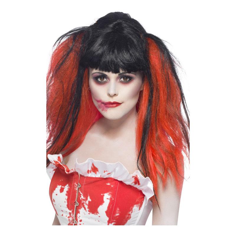 Halloween Svart/Röd Peruk - One size