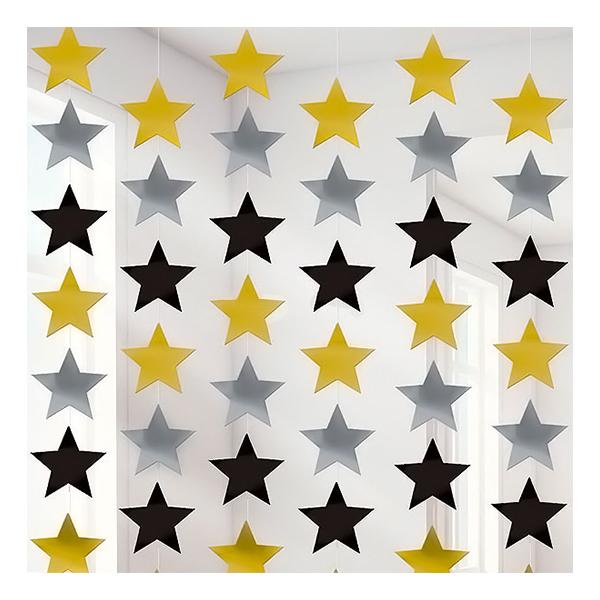 Hängande Dekorationer Stjärnor Guld/Silver/Svart - 6-pack