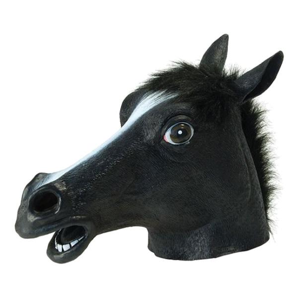 Svart Hästmask i Gummi - One size