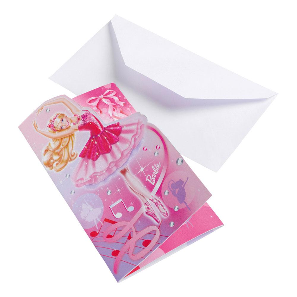 Inbjudningskort Barbie - 6-pack