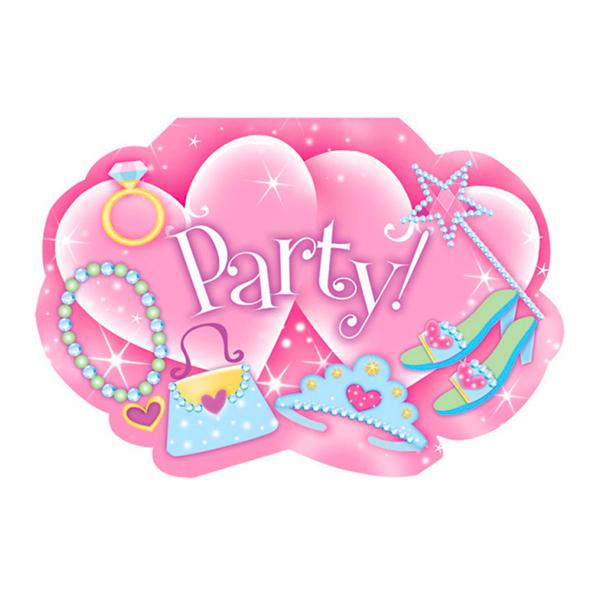 Inbjudningskort Prinsesskalas - 8-pack