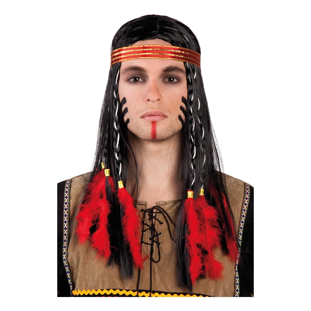Indianhövding med Pannband Peruk - One size