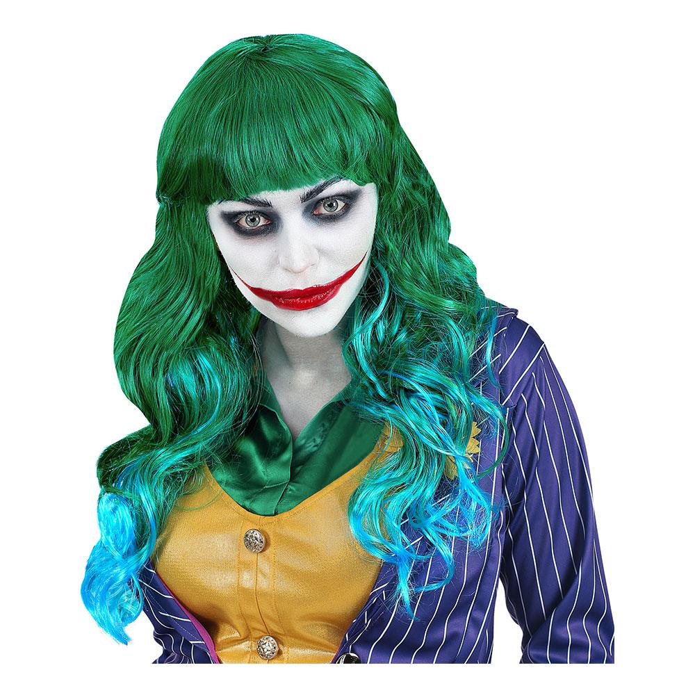 Joker Lång Grön/Blå Peruk - One size