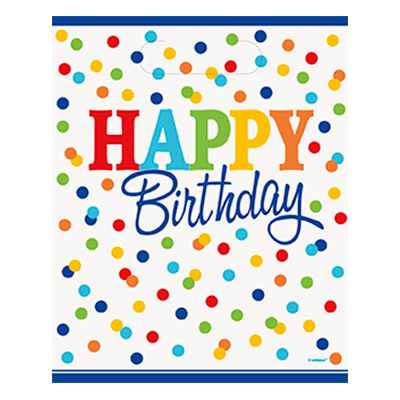 Kalaspåsar Polka Dot Happy Birthday - 8-pack