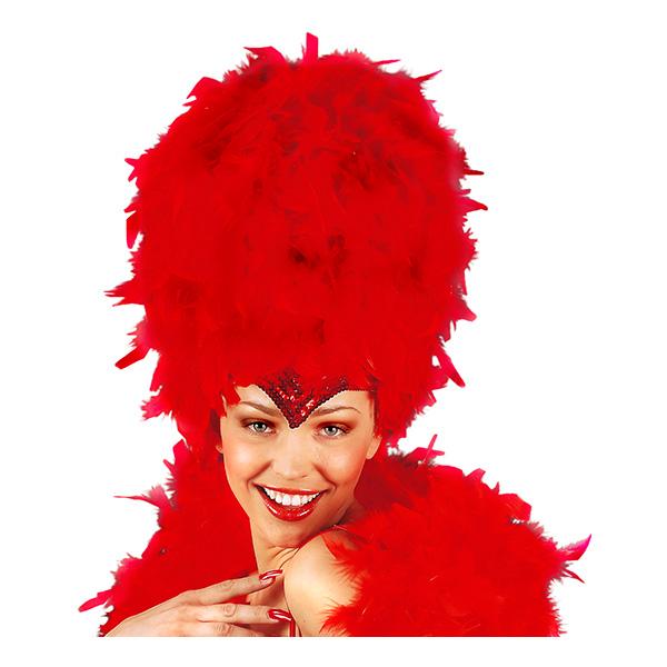 Karneval Fjäderhatt Röd - One size
