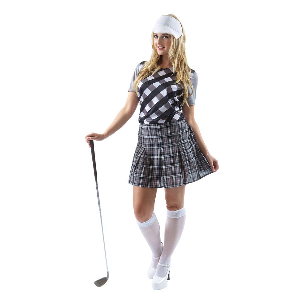 Kvinnlig Golfare Svart/Vit Maskeraddräkt - X-Large