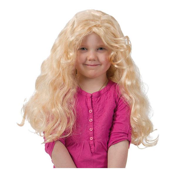 Lång Blond Lockig Barnperuk - One size