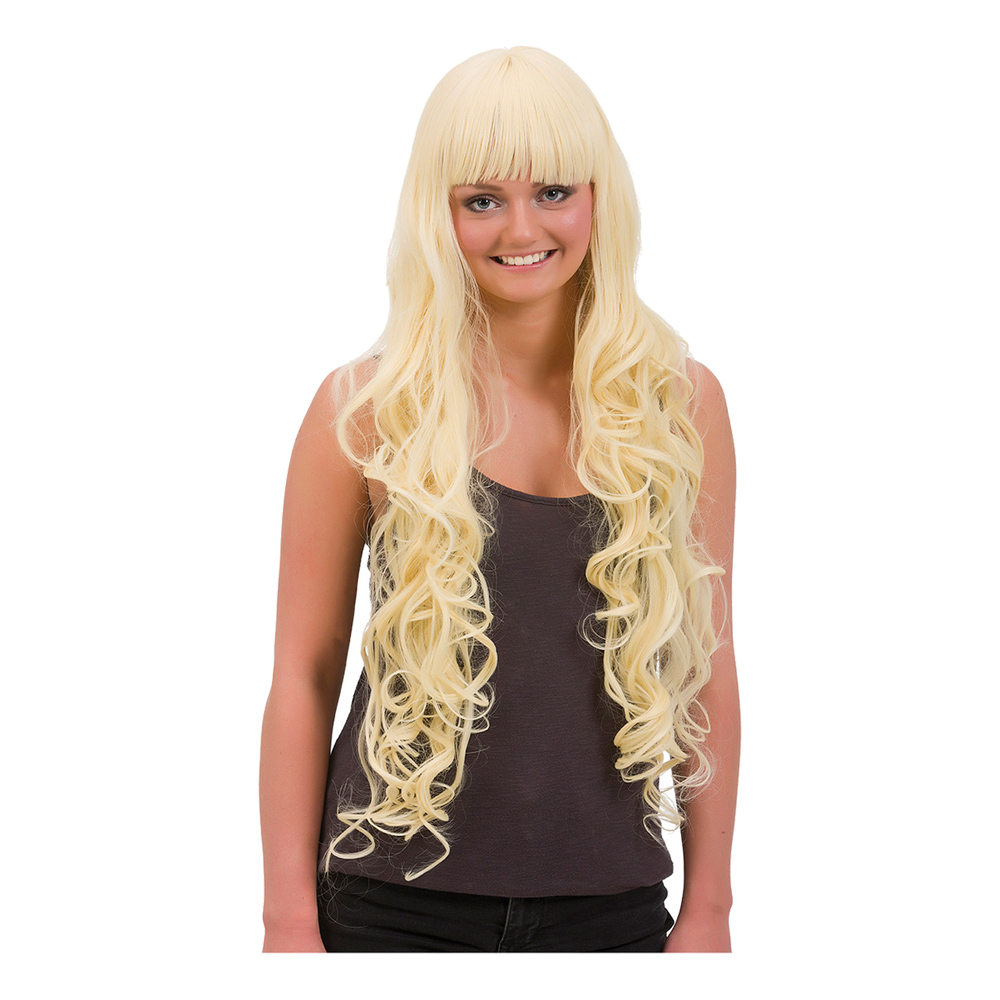 Lång Blond Lockig Deluxe Peruk - One size