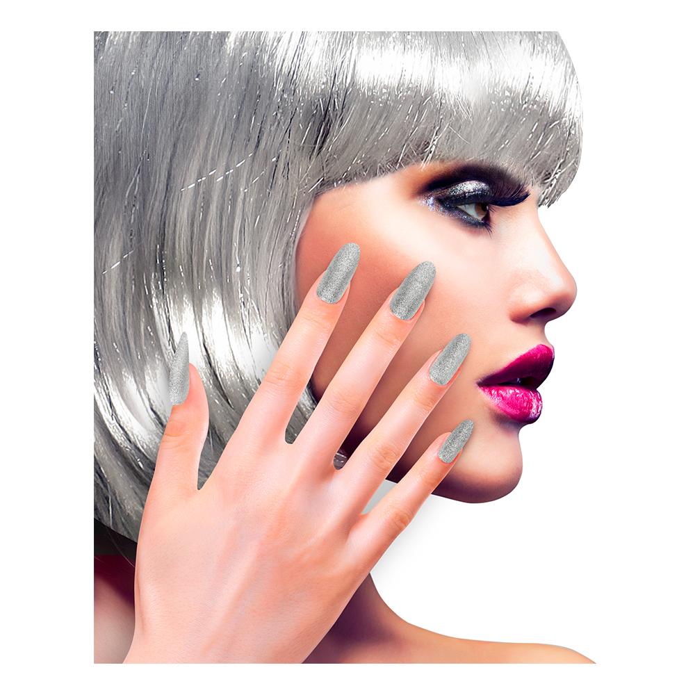 Lösnaglar Glitter Silver - 12-pack