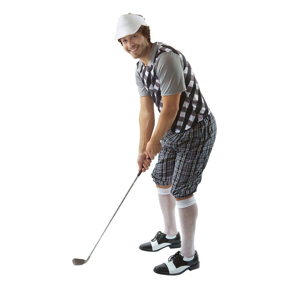 Manlig Golfare Svart/Vit Maskeraddräkt - Standard