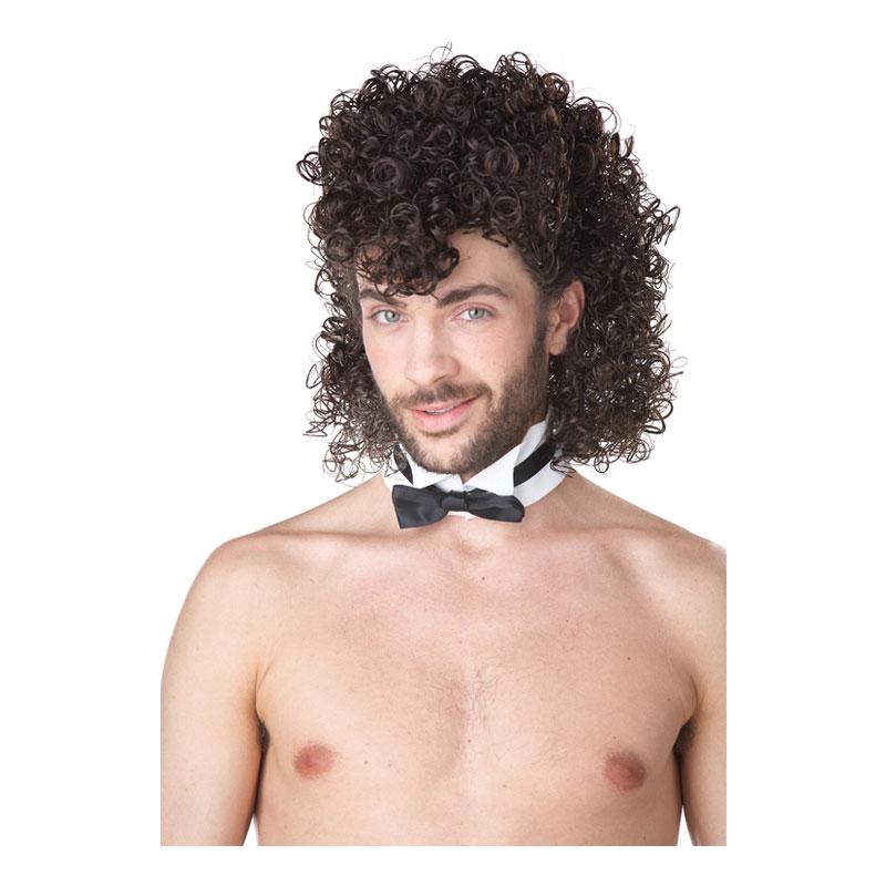 Manlig Strippa Brun Peruk - One size