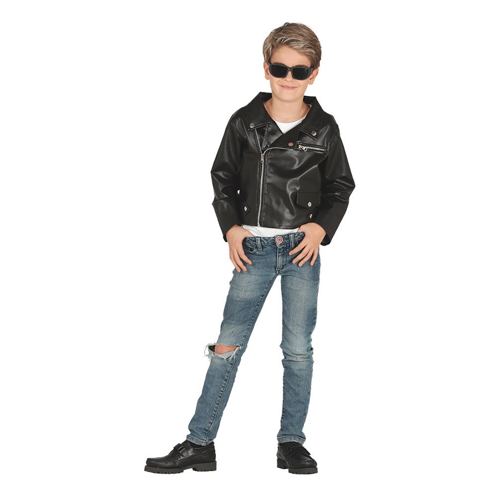 MC-Jacka Svart för Barn - 5-6 år