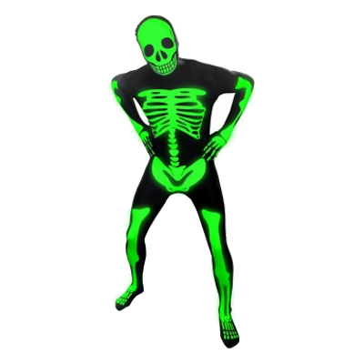 Morphsuit Självlysande Skelett Maskeraddräkt - Large