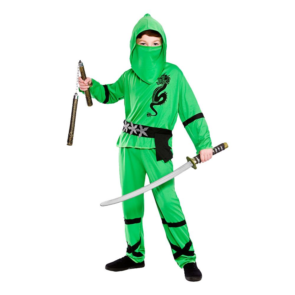 Ninja Grön Barn Maskeraddräkt - Large