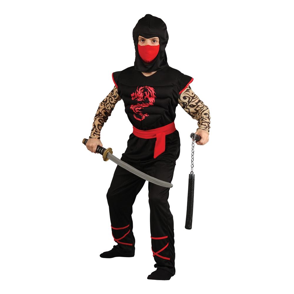 Ninja med Muskelbröst Barn Maskeraddräkt - Large