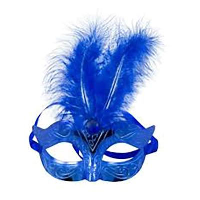 Ögonmask med Fjädrar Blå Metallic