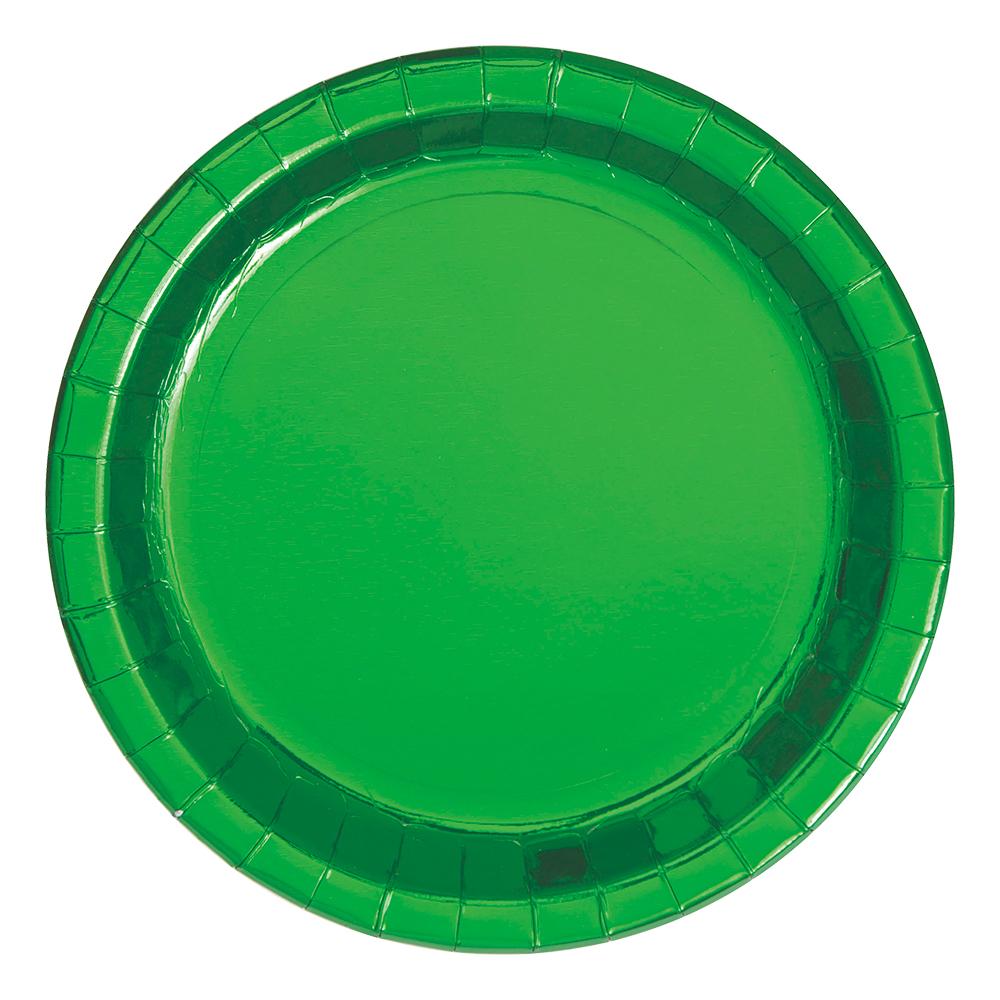Papperstallrikar Grön Metallic - 8-pack