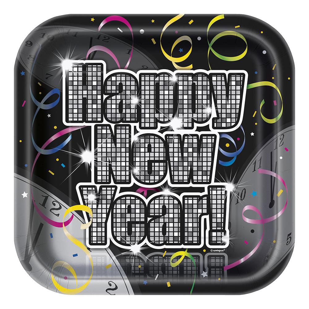 Papperstallrikar Nyår Glitter - 8-pack