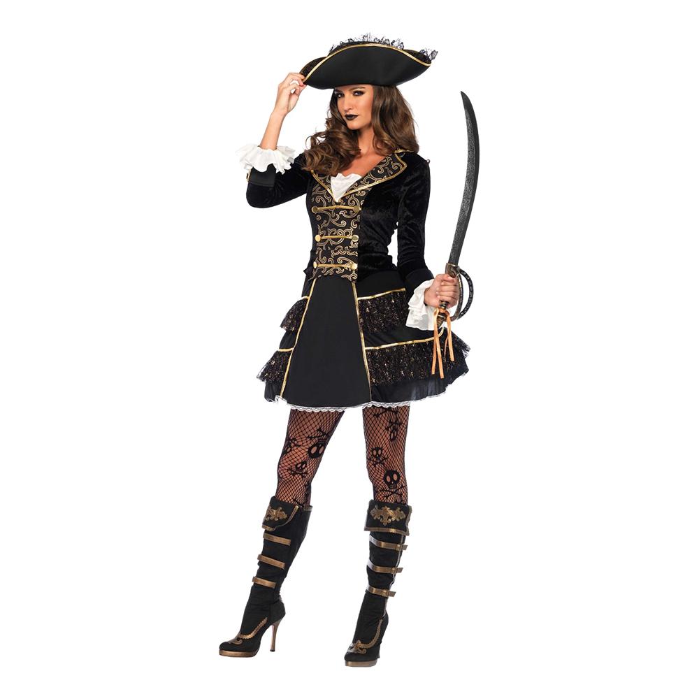 Pirat Kapten Dam Deluxe Maskeraddräkt - Small