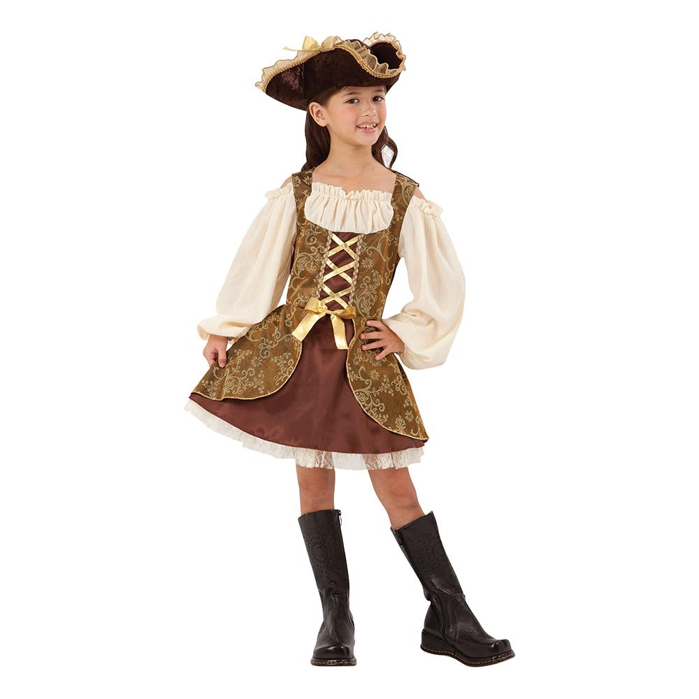 Piratflicka Guld Barn Maskeraddräkt - Small