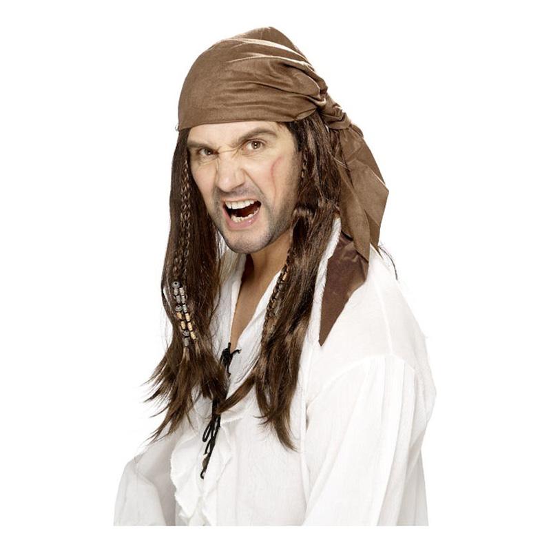 Piratperuk med Brun Bandana - One size