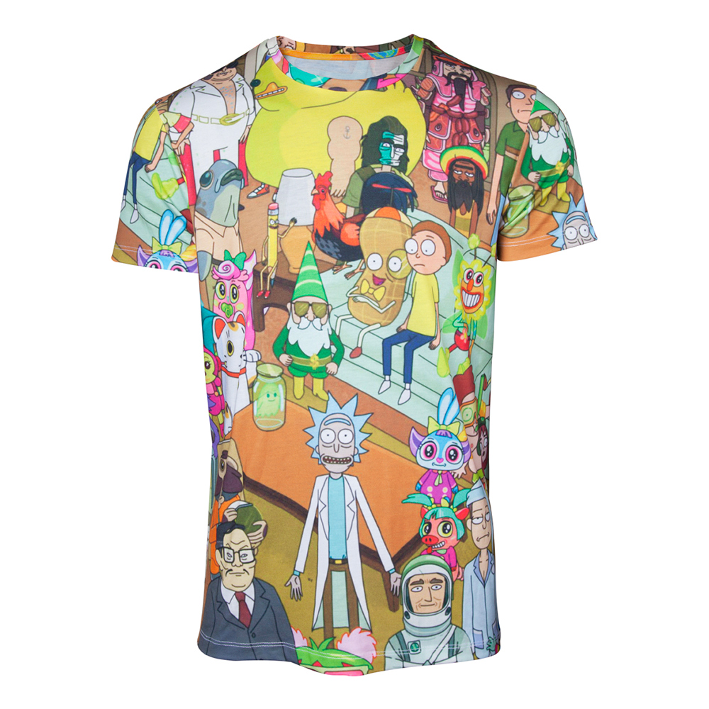 Rick & Morty Allover T-shirt - Small