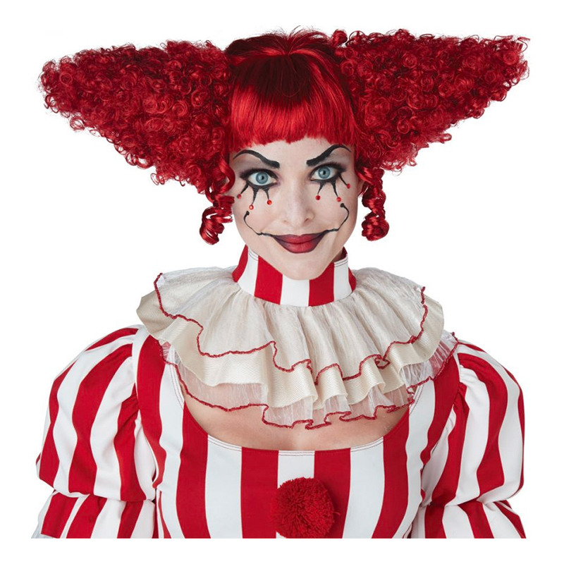 Röd Lockig Clownperuk - One size