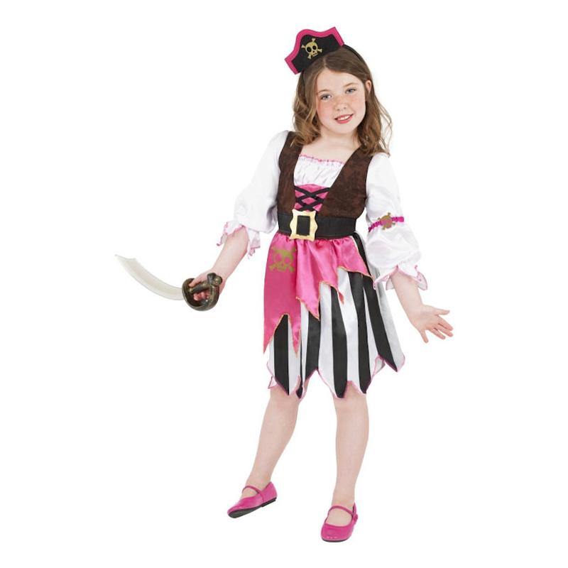 Rosa Pirat Barn Maskeraddräkt - Small