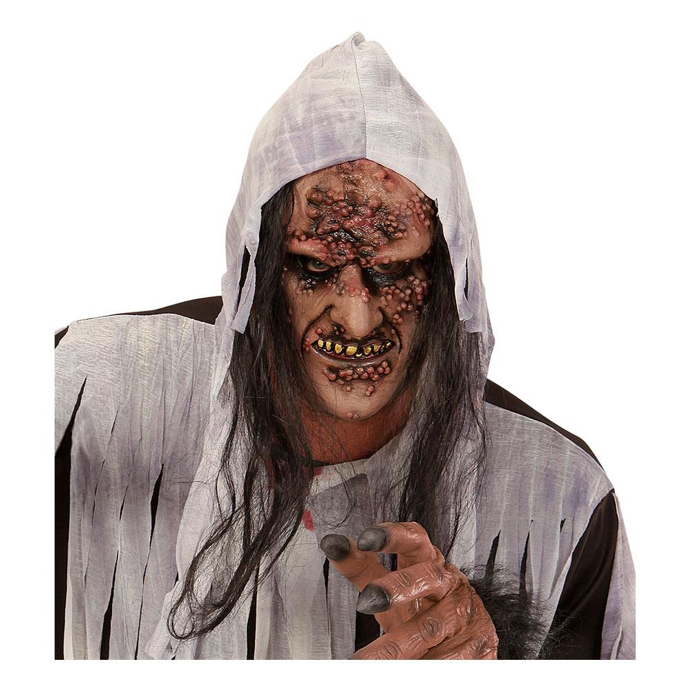 Rutten Zombie/Häxa Halvmask med Hår - One size