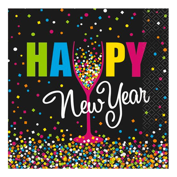 Servetter Konfetti Happy New Year - 20-pack