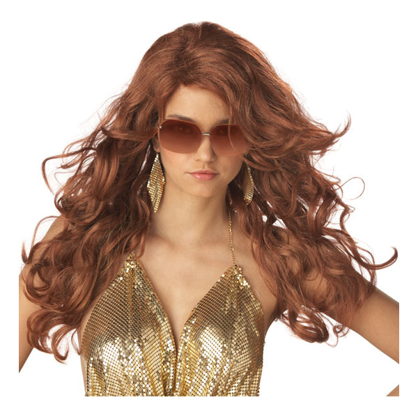 Supermodell Rödbrun Peruk - One size