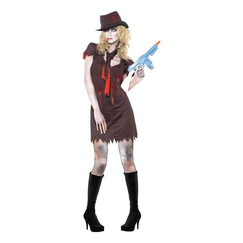 Kvinnlig Zombie Gangster Maskeraddräkt - Small