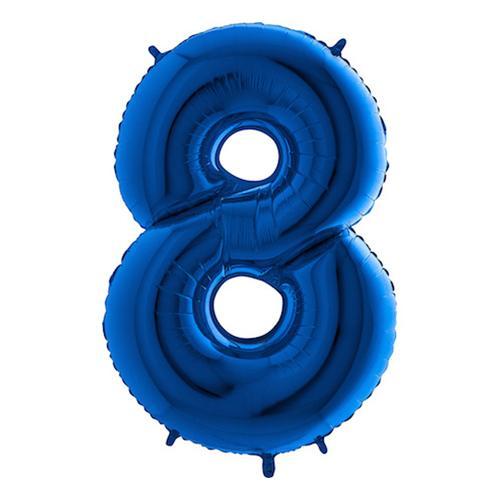 Sifferballong Blå Metallic - Siffra 8