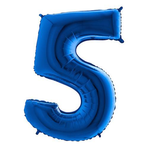 Sifferballong Blå Metallic - Siffra 5