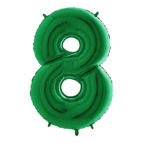Sifferballong Grön Metallic - Siffra 8