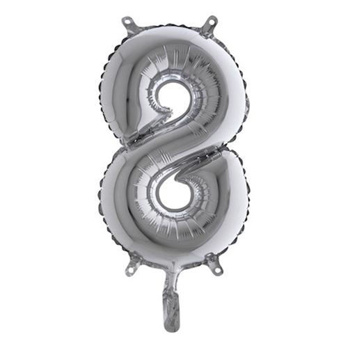 Sifferballong Mini Silver Metallic - Siffra 8