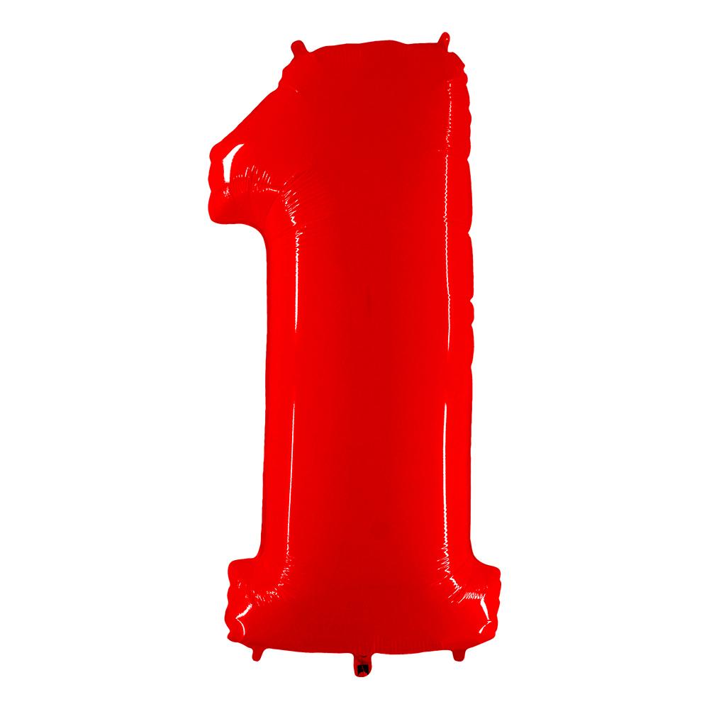 Sifferballong Neon Röd - Siffra 1
