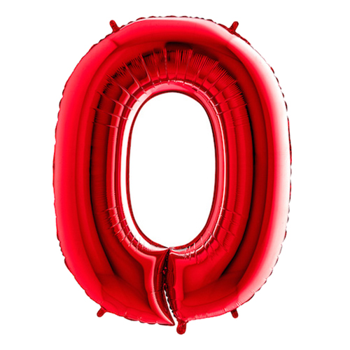 Sifferballong Röd Metallic - Siffra 0