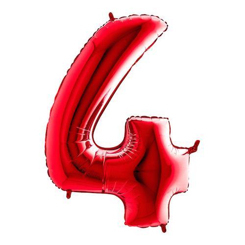 Sifferballong Röd Metallic - Siffra 4