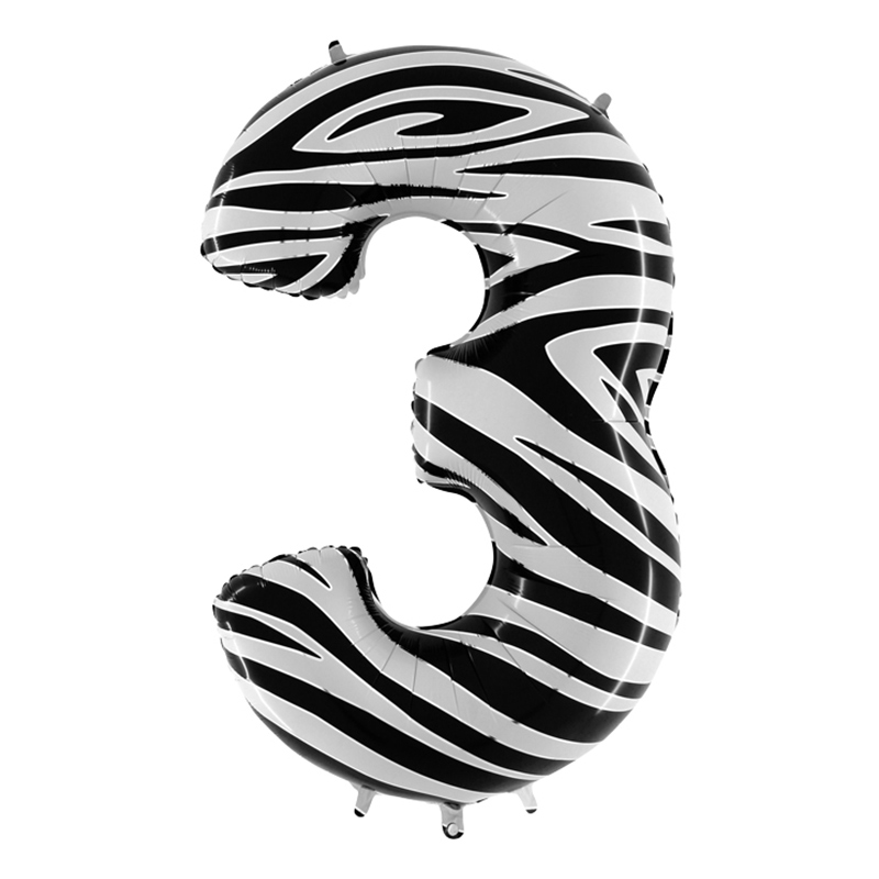 Sifferballong Zebra - Siffra 3