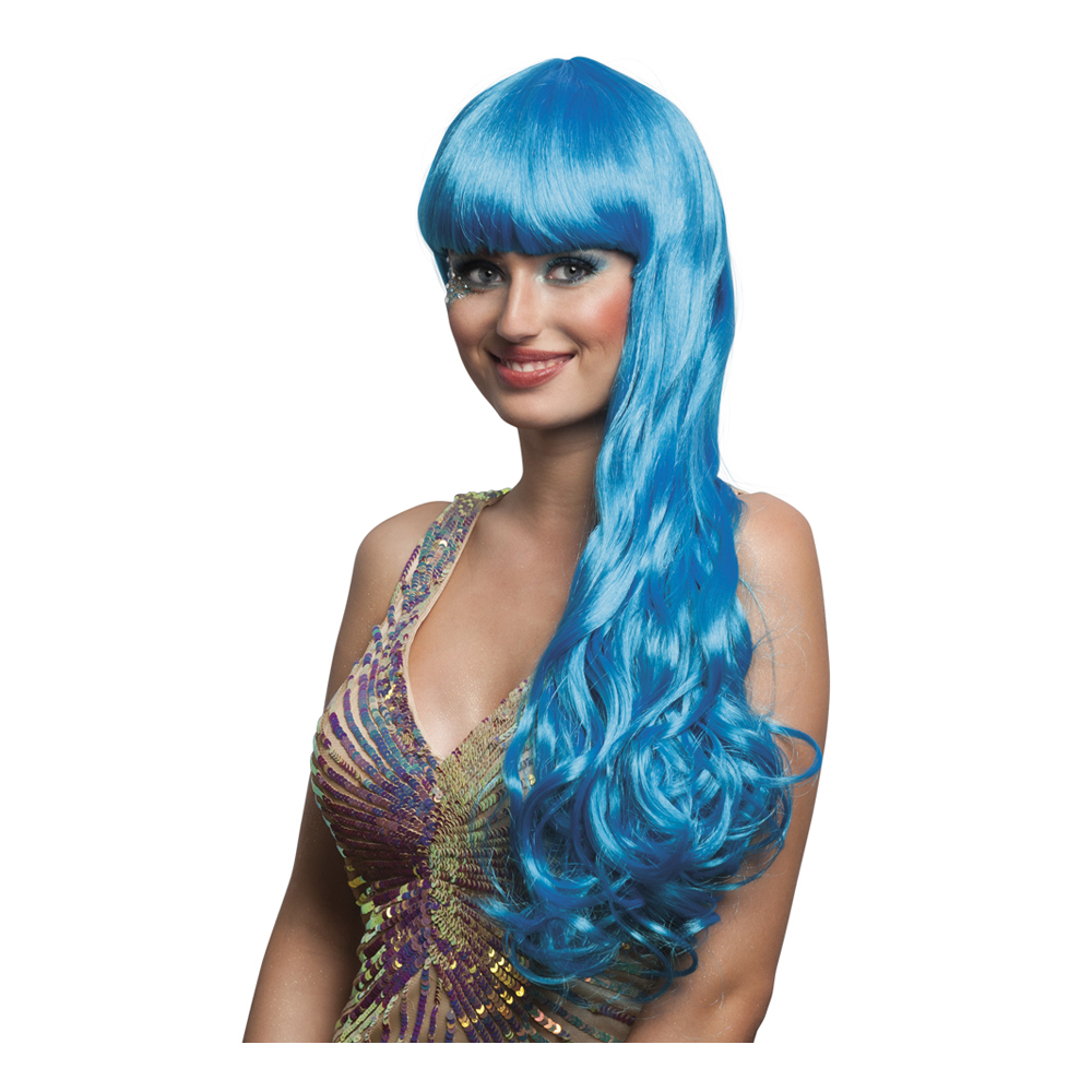 Sjöjungfru Blå Peruk med Lugg - One size
