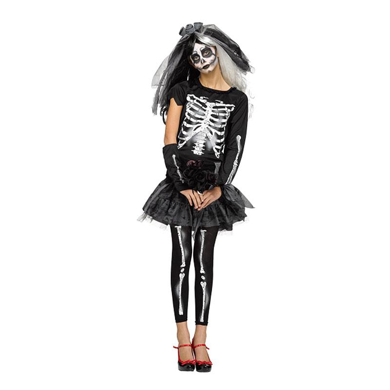Skelettklänning Teen Maskeraddräkt - One size