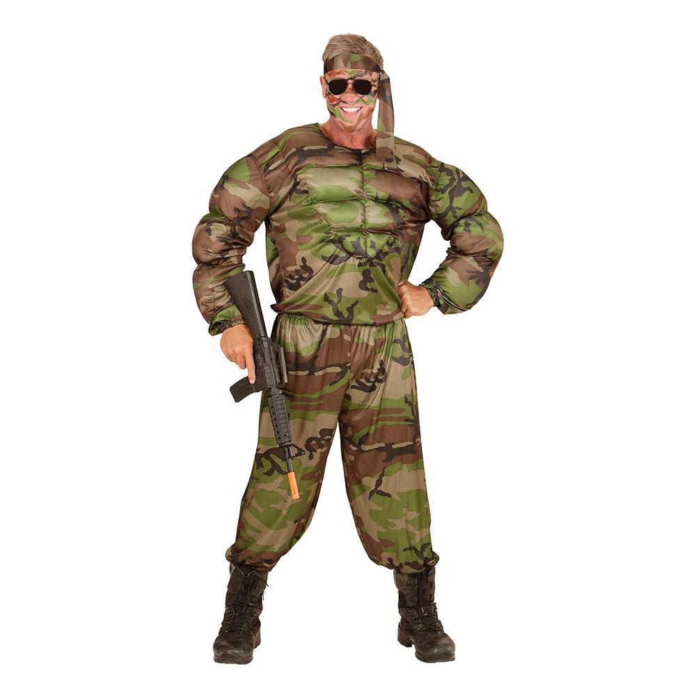 Soldat med Muskler Maskeraddräkt - Small