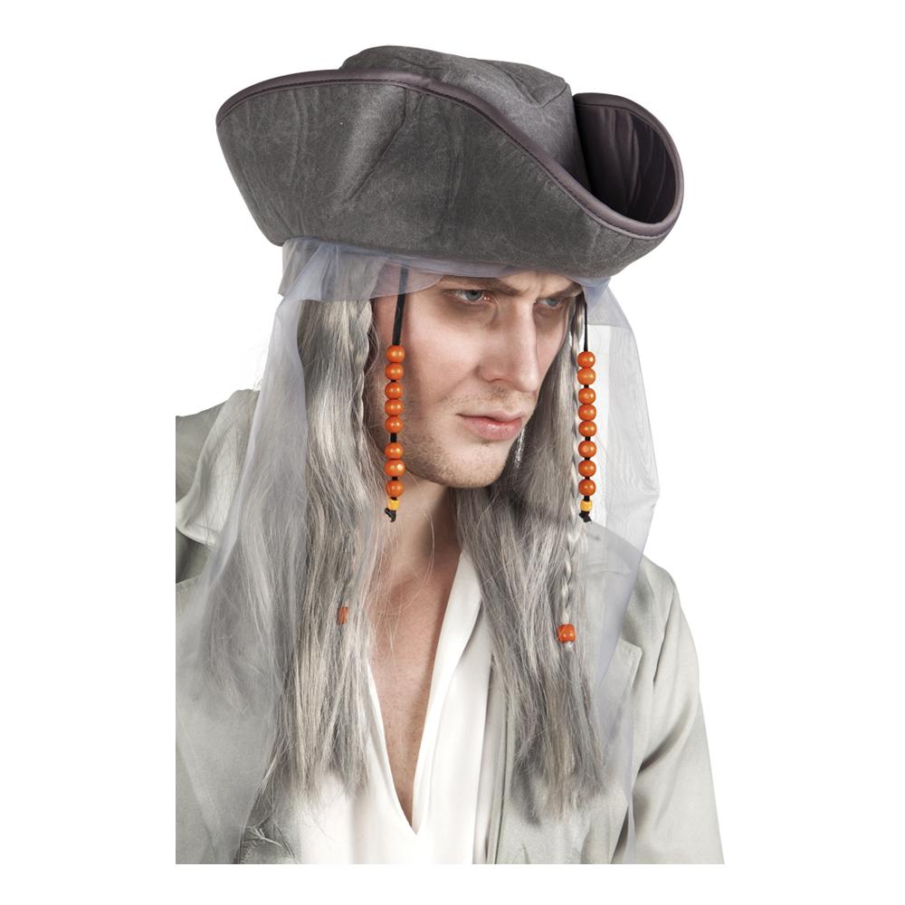 Spökpirat Peruk med Hatt - One size