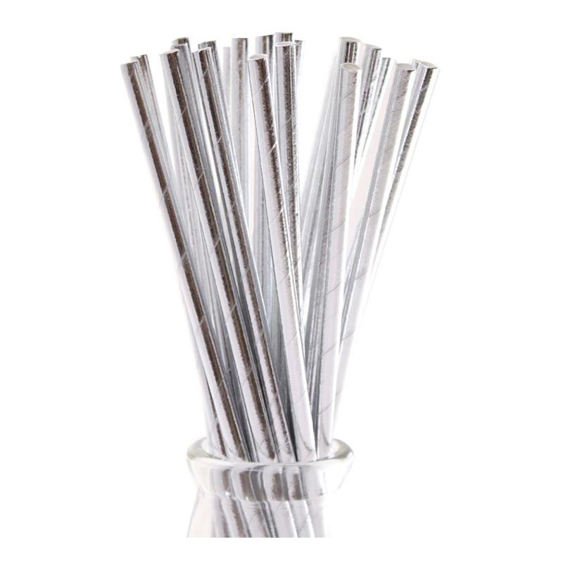 Papperssugrör Silver Metallic - 10-pack