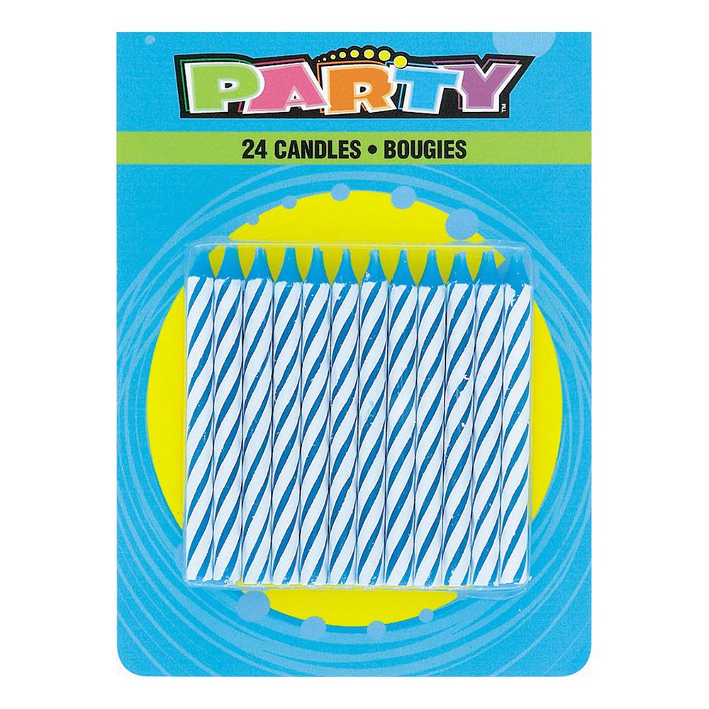Tårtljus Blå Randiga - 24-pack