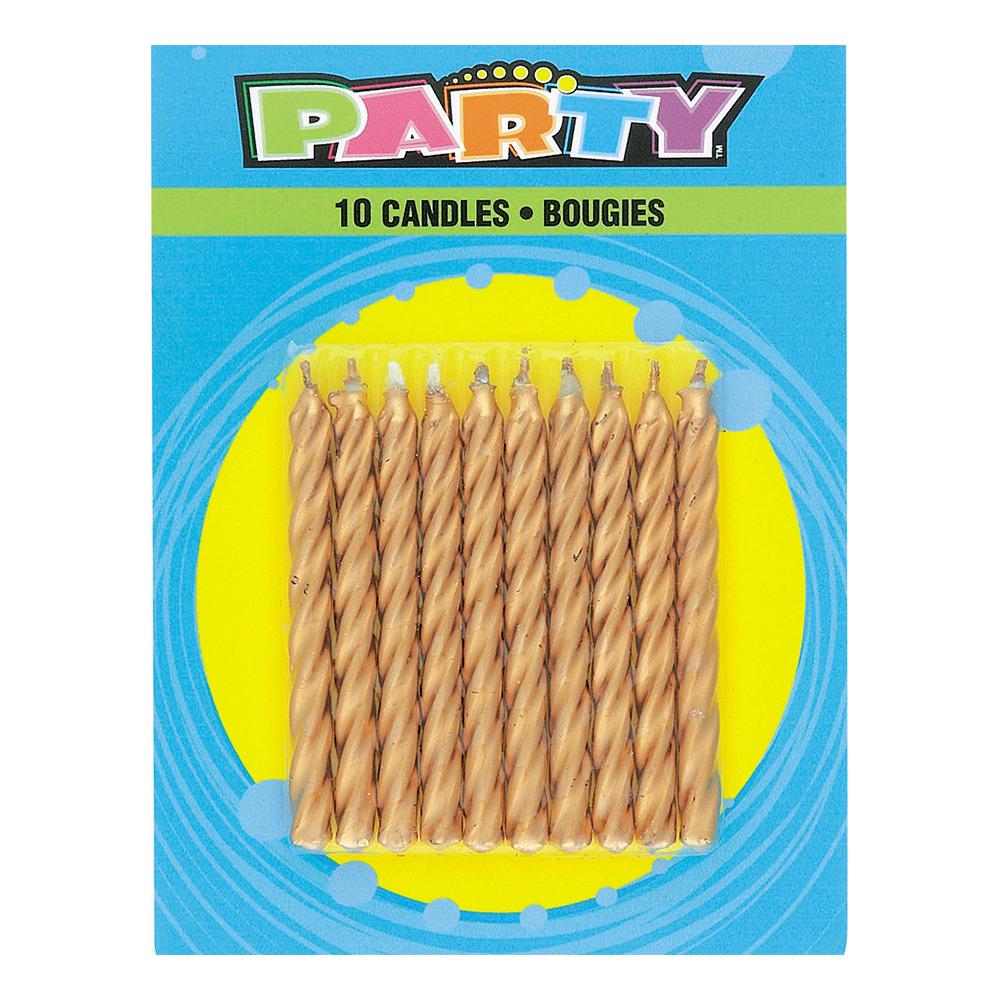 Tårtljus Guld Vridna - 10-pack