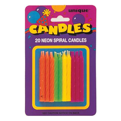 Tårtljus Neonfärgade - 20-pack