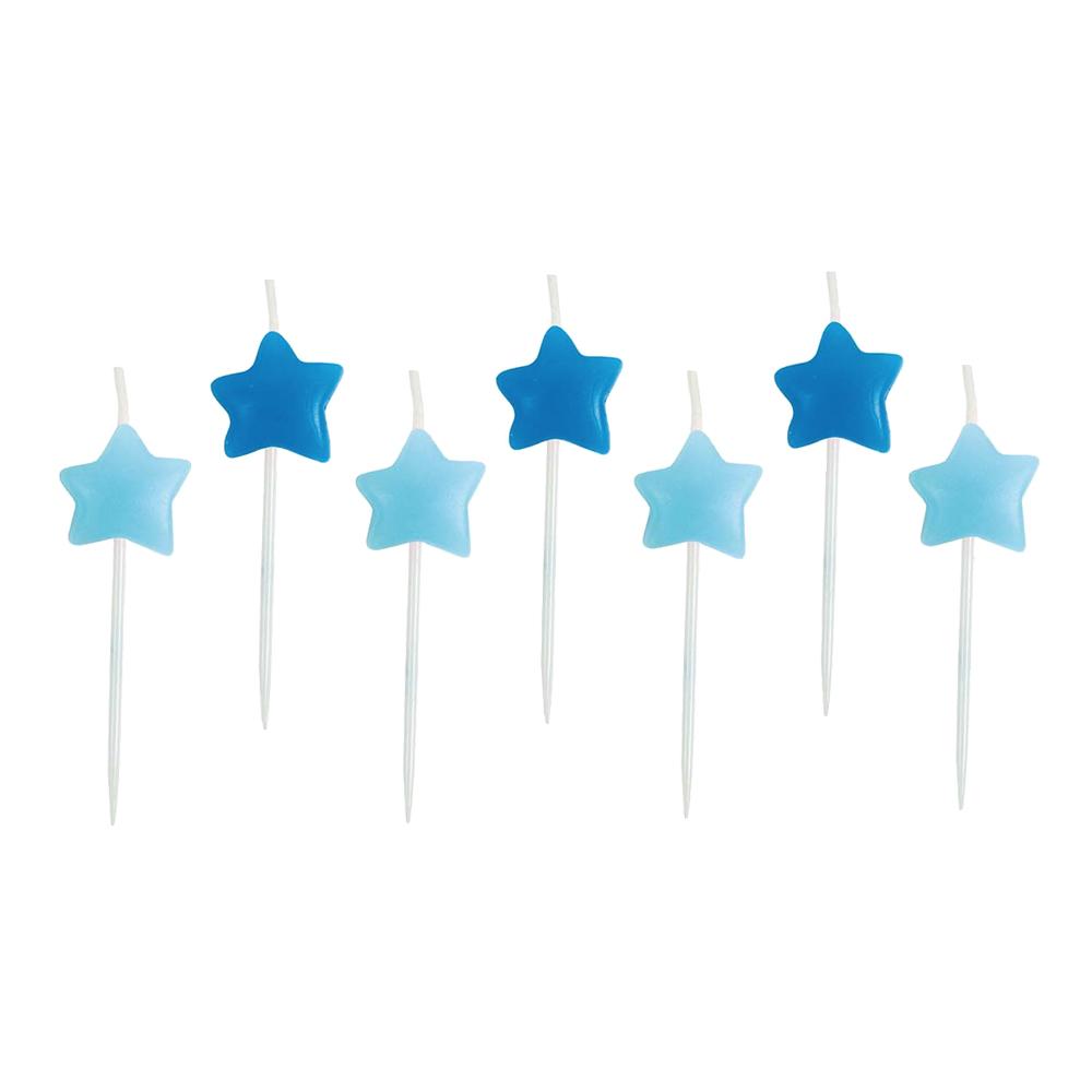 Tårtljus Stjärna Blå - 7-pack